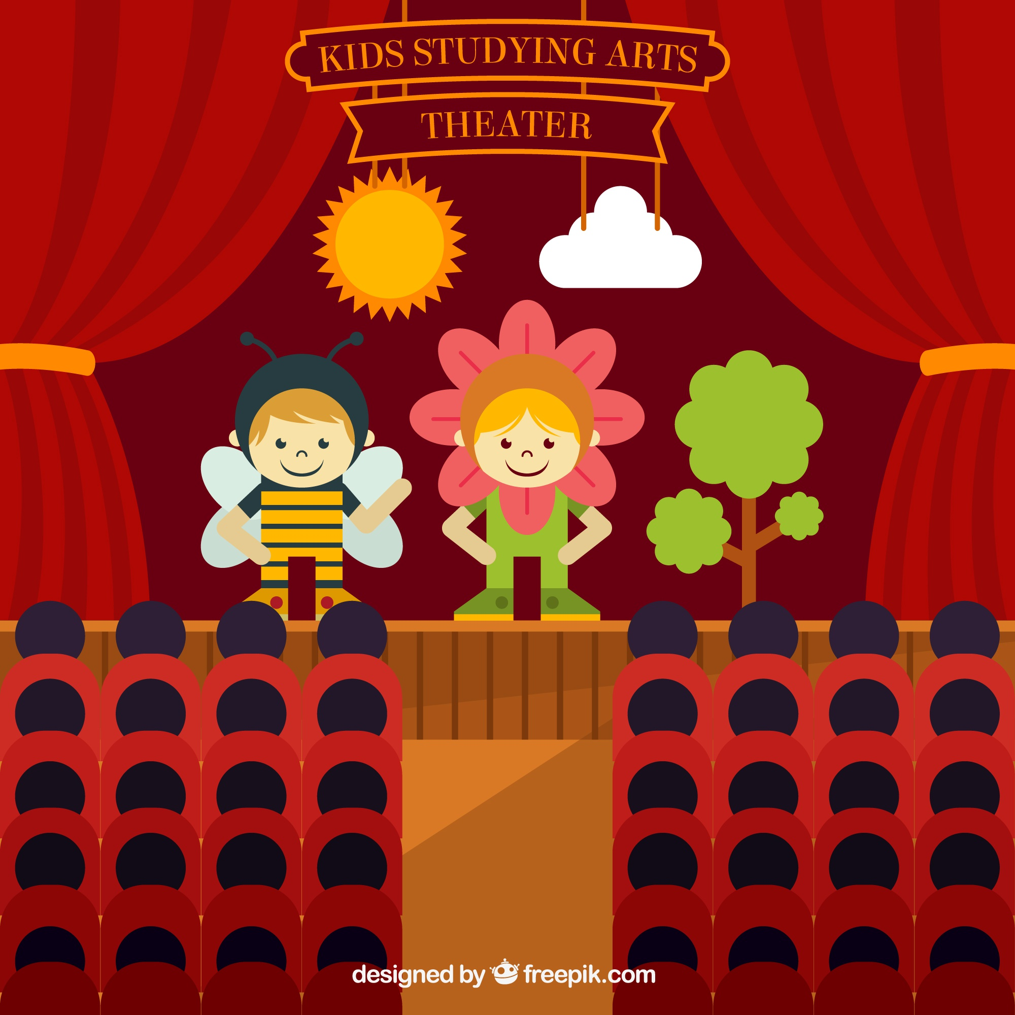 Children theatre play in flat design