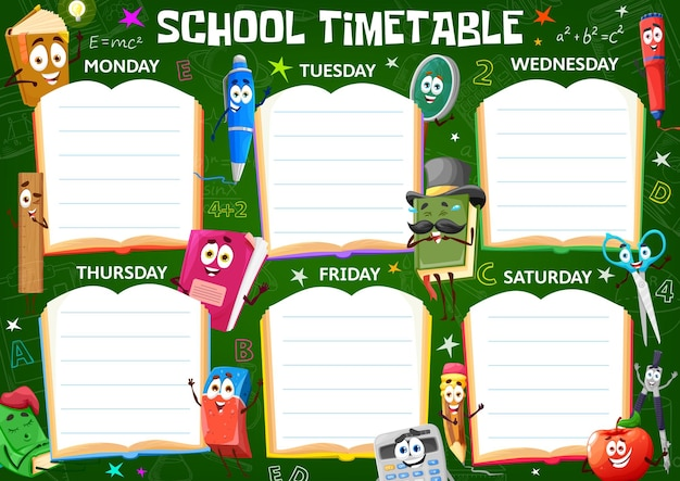 Children timetable schedule with school stationery