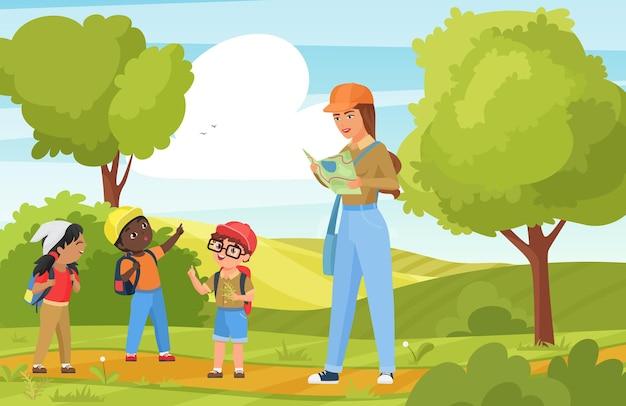 Children tourists walk and hike, outdoor trekking activity