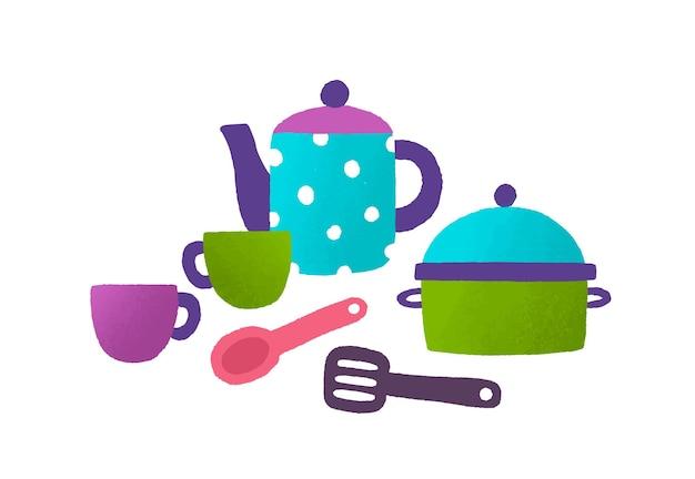 Детская игрушка посуда плоская векторная иллюстрация. пластиковый горшок, чашки, чайник, изолированные на белом фоне. красочный детский столовый набор. детские кухонные принадлежности. забавная игра для маленьких девочек.