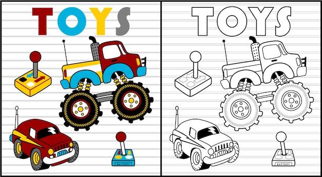 어린이 장난감 만화 색칠 공부 또는 페이지