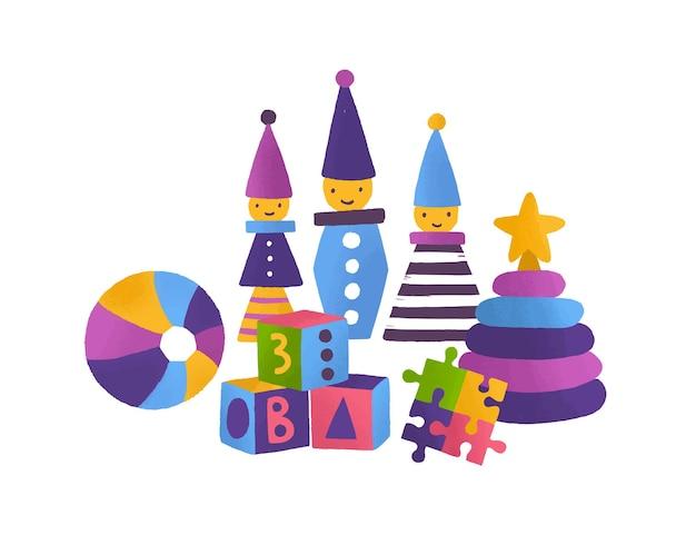 子供のおもちゃフラットベクトルイラスト。明るいビルディングブロック、ジグソーパズル、ボール、ピラミッド、白い背景で隔離のピエロ。小さな子供たちの発達のための教育ゲームとおもちゃ。