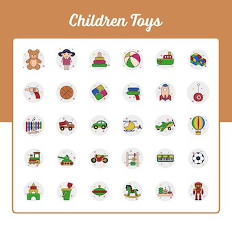 Children toys icons set with outline filled style