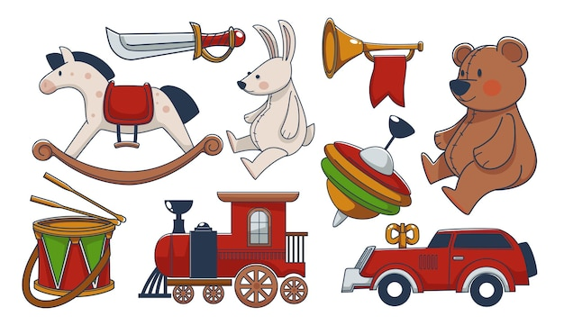 木製とテキスタイル素材で作られた子供のおもちゃ、馬とぬいぐるみのクマとバニーのヴィンテージまたはレトロなスタイル、リボンとドラムのトランペット、電車と時計仕掛けの車、カラフルなヨーヨー。フラットスタイルのベクトル