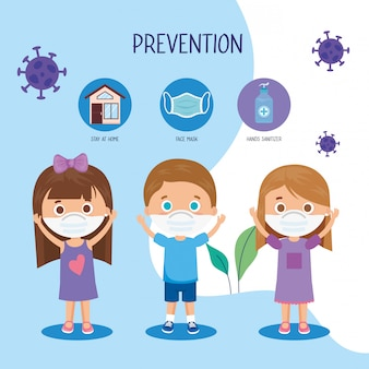 Children using face mask with campaign prevention 2019 ncov illustration design