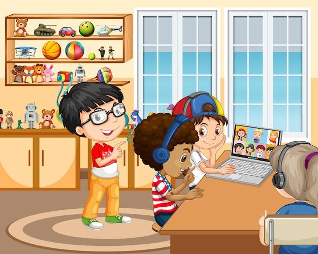 랩톱을 사용하는 어린이는 회의실 장면에서 친구들과 화상 회의를 소통합니다.
