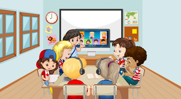 教室のシーンで教師や友人とビデオ会議を通信するためにラップトップを使用している子供たち