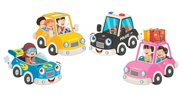 Children using various colorful cars