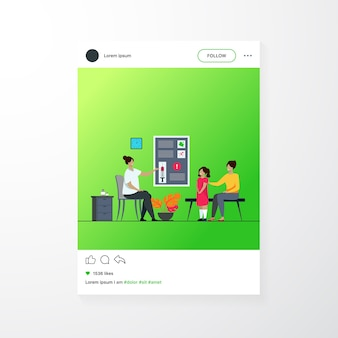 Children vaccination concept. doctor presenting vaccine to mother with kid in hospital. flat vector illustration for pediatrician, protection from flu topics