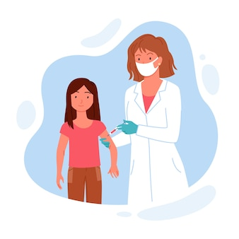 면역력 어린이 건강을위한 어린이 예방 접종.