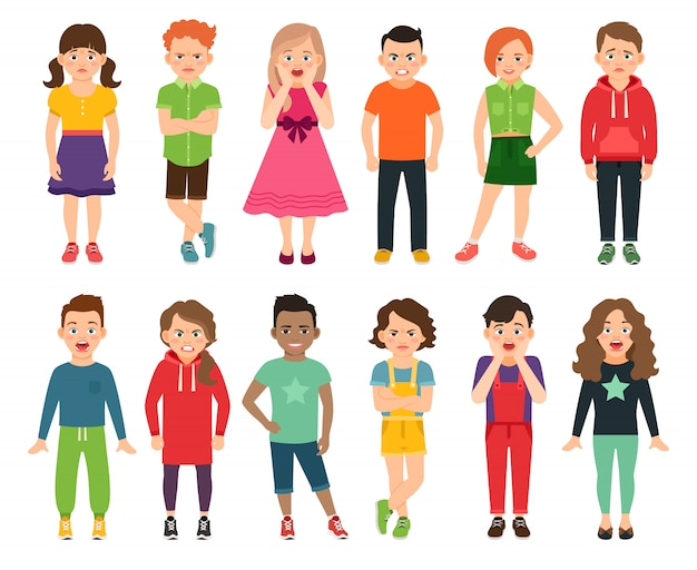 Children vector illustration. standing kids, boys and girls teenagers isolated