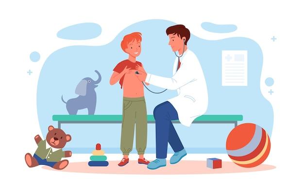 子供たちは病院のベクトル図で小児科医の医者を訪問します。聴診器で男の子の子供の健康診断を行う漫画の小児科医の男性キャラクター、白で隔離の医学ヘルスケア