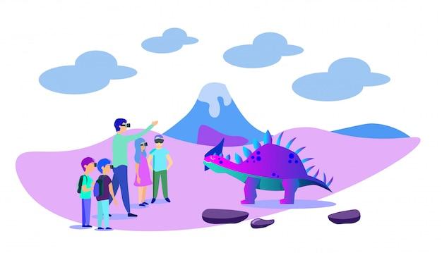 Children visiting virtual paleontology museum