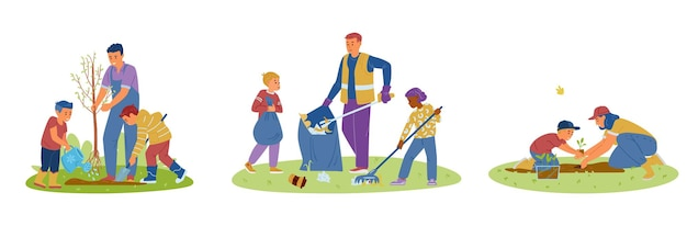 大人と一緒にゴミを植える苗木や木を集める子供たちのボランティア
