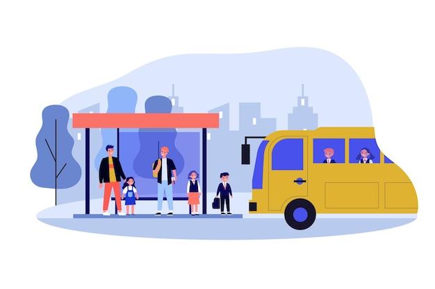 スクールバスのイラストを待っている子供たち