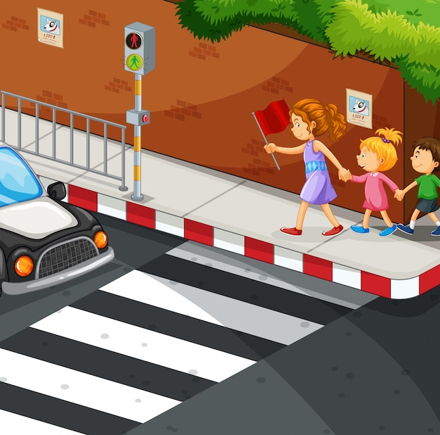 Дети гуляют по асфальту