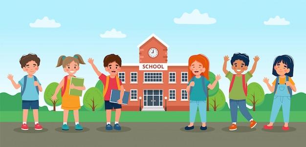 学校に歩いて行く子供たち、かわいいカラフルなキャラクター。