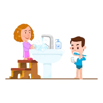 Children wash their face, brush their teeth, cartoon boy and girl flat style.