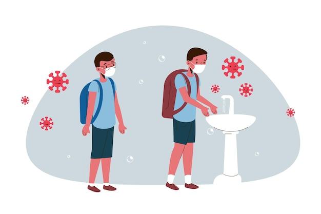 学校のデザインで手を洗う子供たち