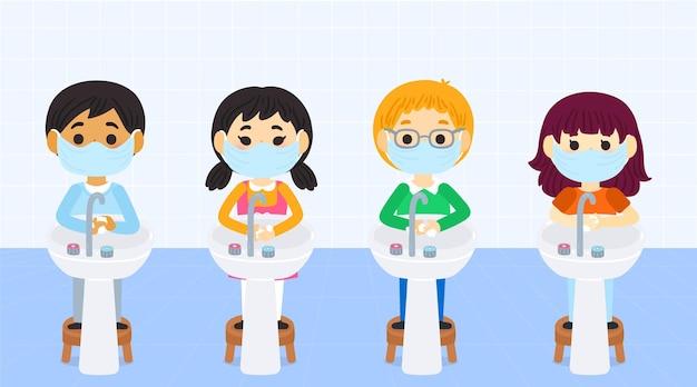 学校で手を洗う子供たち