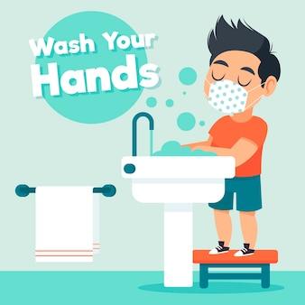 Children washing their hands at school