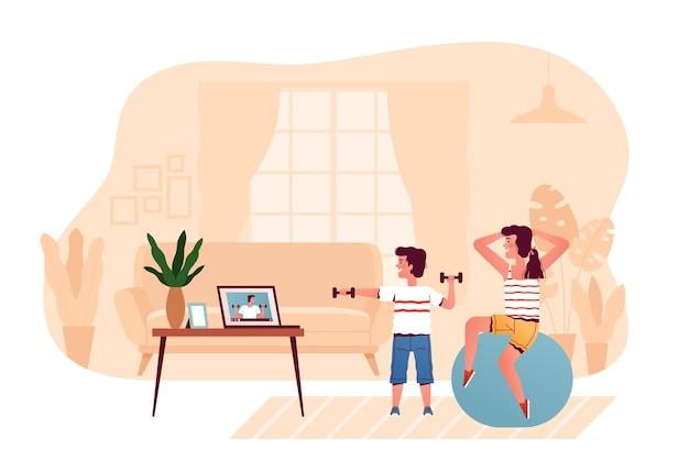 Дети смотрят видео с тренером на ноутбуке, занимаясь спортом дома