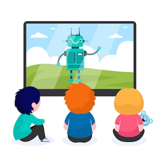 Children watching cartoon with robot