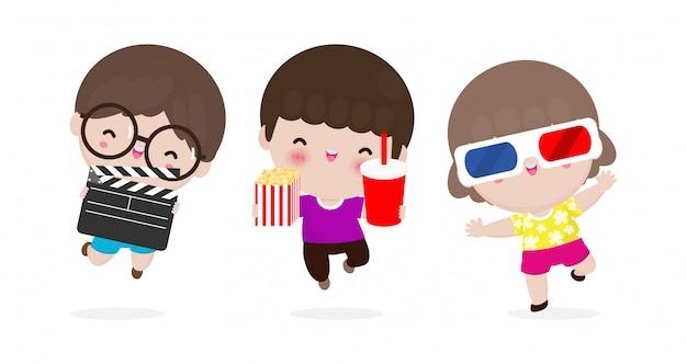 映画を見ている子供たち、一緒に映画に行く幸せな子供たち、映画とクラッパーとポップコーン、映画を見ている子供、映画館。白い背景イラストを分離