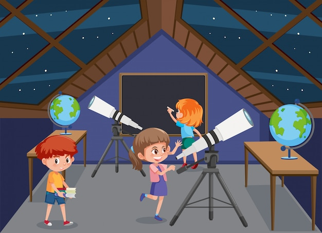 屋根の星を見ている子供たち