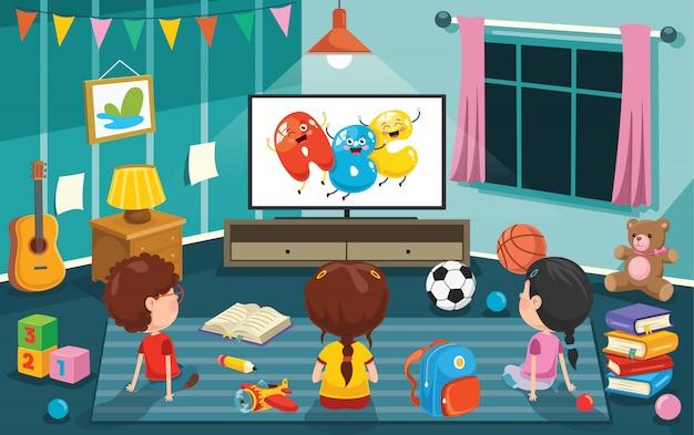 방에서 텔레비전을 보는 아이들
