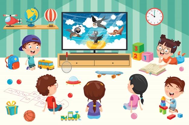 部屋でテレビを見ている子供たち