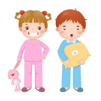 Children wearing pajamas and getting ready to sleep