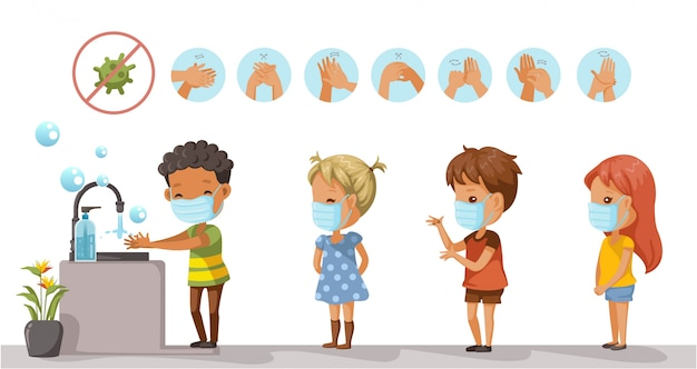 防護マスクをつけた子供たちと子供たちは手を洗うために列を作っています。コロナウイルス関連