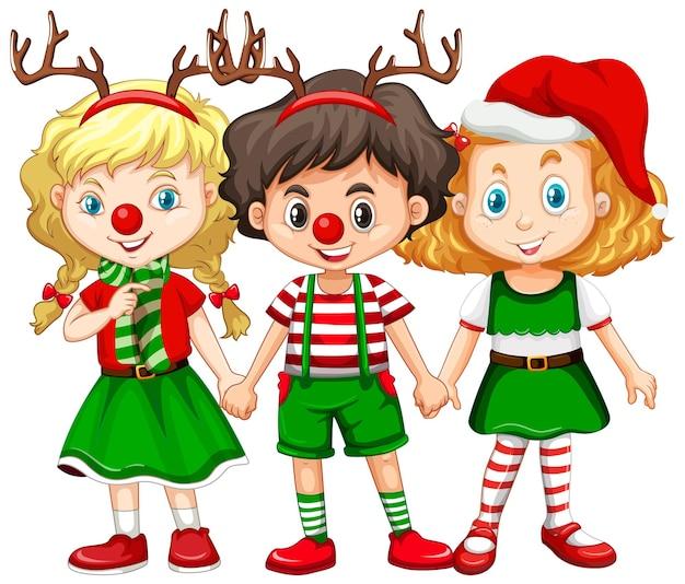 순록 머리띠와 빨간 코 크리스마스 의상을 입고 아이들