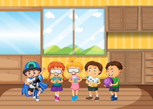 거실에서 고글을 착용하는 어린이