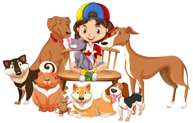 Children with animals on isolated background