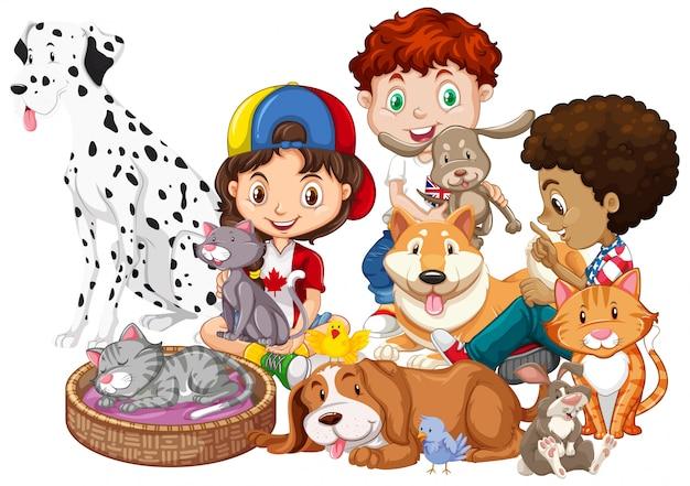 分離された動物を持つ子ども
