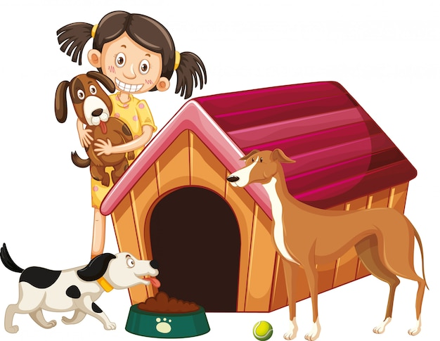 Children with animals on isolated
