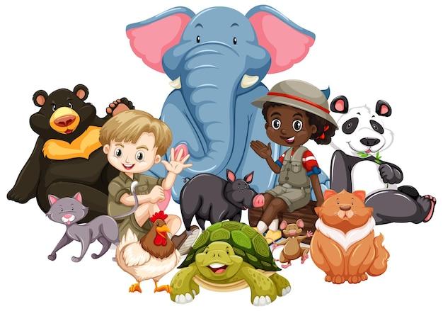 격리 된 배경에 동물과 어린이