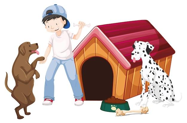 孤立した背景に動物を持つ子供
