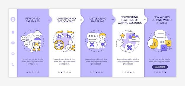 自閉症スペクトラム障害の子供たちのオンボーディングベクターテンプレート。アイコン付きのレスポンシブモバイルサイト。 webページのウォークスルー5ステップ画面。直線的なイラストで手を振るジェスチャーの色の概念はありません