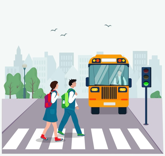 Дети с рюкзаками переходят дорогу по пешеходному переходу на зеленый свет. правила дорожного движения.