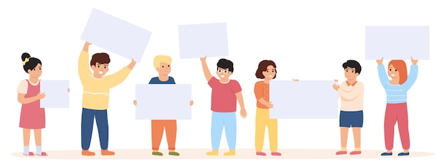 Children with banners. little kids group holding empty placards illustration