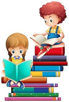 白い背景の本を持つ子供たち