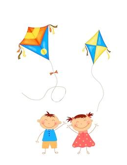 ハッピーマカールサンクランティフェスティバルのお祝いのためのカラフルな凧を持つ子供たち。ベクター。