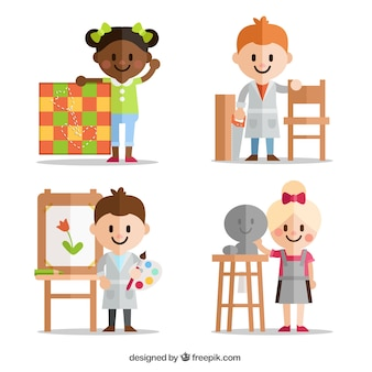Children with different artistic disciplines in flat design