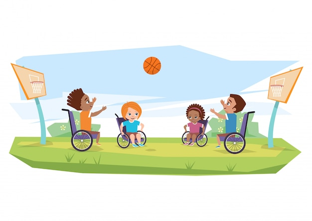 Children with disabilities playing basketball in open air