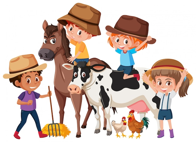 Children with farm animals