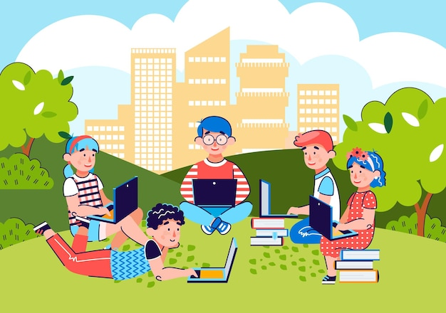 도시 공원 그림에서 학습하는 노트북 컴퓨터를 가진 아이들
