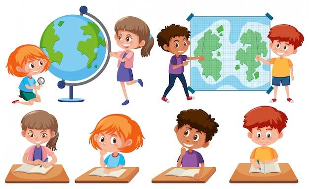 白い背景に学習ツールを持つ子供たち